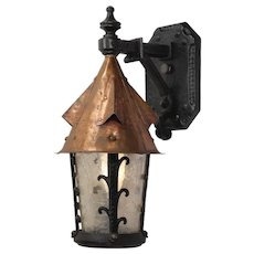 Tudor Cast Iron & Copper Lantern Sconce by Lightolier, Antique Lighting