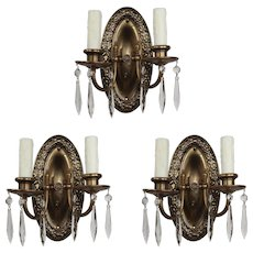 Antique Neoclassical Sconces in Brass, Icicle Prisms
