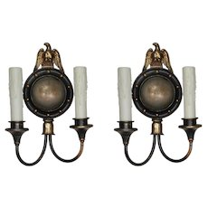 Antique Figural Double-Arm Sconce Pair with Eagles, Lightolier