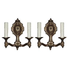 Antique Neoclassical Sconce Pair in Brass