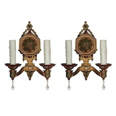 Neoclassical Sconce Pair with Original Polychrome, Antique Lighting