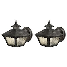 Antique Tudor Lantern Sconce Pair