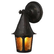 Figural Tudor Wall-Mount Lantern with Mica, Cast Iron