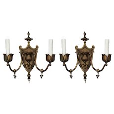 Antique Adam Style Gas Sconces in Bronze, C. 19th Century
