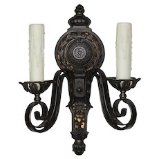 Antique Neoclassical Cast Iron Sconces with Mica
