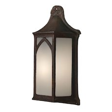 Antique Cast Iron Tudor Sconce with Glass