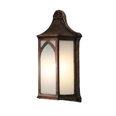 Antique Cast Bronze Tudor Sconce with Glass