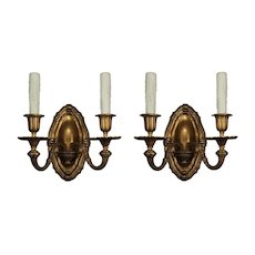 Antique Georgian Style Sconces in Gilded Bronze, E.F Caldwell Attributed
