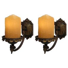 Neoclassical Cast Bronze Figural Sconces, Antique Lighting