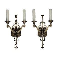 Antique Two-Arm Cast Brass Tudor Sconces, c.1920