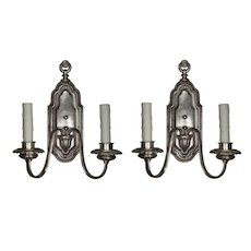 Pair of Silver Plated Neoclassical Sconces, Antique Lighting