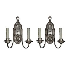 Pair of Silver Plated Neoclassical Sconces Signed Edward Miller, Antique Lighting