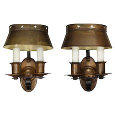 Pair of Antique Double-Arm Colonial Revival Sconces with Shades