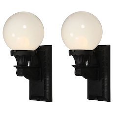 Pair of Early Exterior Sconces with Glass Globes, Antique Lighting
