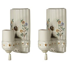 Antique White Porcelain Sconces, Painted Flowers