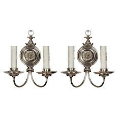 Pair of Neoclassical Silver Plated Double-Arm Sconces, Antique Lighting