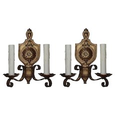 Pair of Antique Cast Brass Spanish Revival Sconces