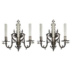 Antique French Figural Nickel-Plated Sconces, 19th century
