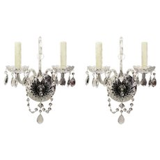 Pair of Antique Glass Sconces with Original Prisms