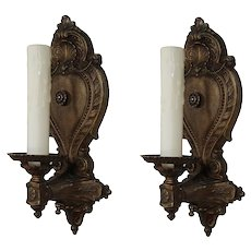 Antique Neoclassical Sconces with Palmettes, Marked Detroit