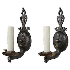 Antique Pair of Figural Cast Iron Sconces by Virden