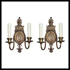 Pair of Antique Neoclassical Figural Sconces