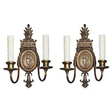 Pair of Antique Neoclassical Figural Sconces