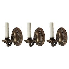 Set of Antique Neoclassical Single-Arm Sconces, Bronze