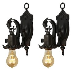 Antique Tudor Exposed Bulb Sconces, Cast Iron