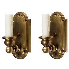 Colonial Revival Brass Sconces, Antique Lighting