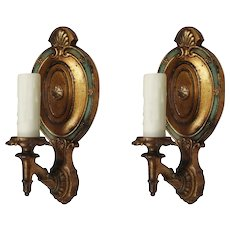 Neoclassical Cast Bronze Sconces, Antique Lighting