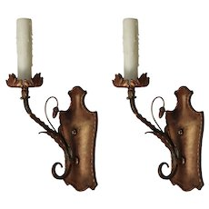 Antique Single-Arm Bronze Sconce Pair