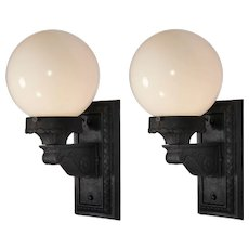 Pair of Exterior Sconces with Glass Globes, Antique Lighting
