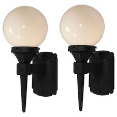 Pair of Antique Exterior Sconces with Glass Globes, Early 1900's