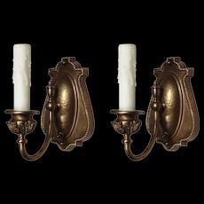 Pair of Antique Brass Single-Arm Sconces