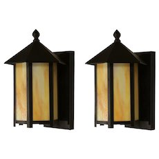 Antique Pair of Exterior Sconces with Amber Slag Glass