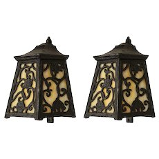 Pair of Antique Wall Mount Lanterns with Amber Slag Glass, c. 1910