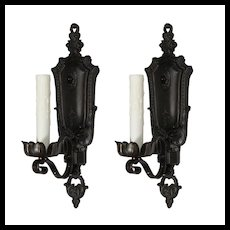 Pair of Antique Cast Iron Spanish Revival Sconces