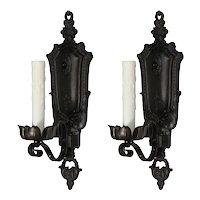 Pair of Antique Cast Iron Spanish Revival Sconces