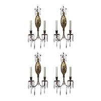 Matching Pairs of Antique Sconces with Prisms, R.P. & Co.