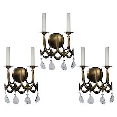 Matching Vintage Double Arm Sconces with Prisms