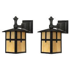Antique Pair of Exterior Sconces with Amber Slag Glass, Arts & Crafts