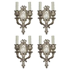 Pairs of Antique Neoclassical Figural Sconces by Baldinger