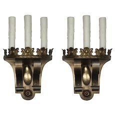 Antique Spanish Revival Three-Light Sconce Pair, c.1920