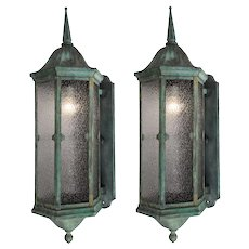 Pair of Antique Gothic Revival Copper Lantern Sconces, Early 1900s