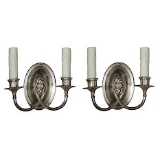 Pair of Silver Plated Double-Arm Sconces, Antique Lighting