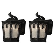 Pair of Antique Cast Iron Lantern Sconces, Early 1900's