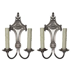 Pair of Antique Double-Arm Georgian Sconces, Silver Plated