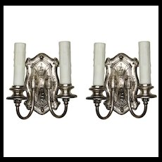 Striking Pair of Antique Silver Plated Double-Arm Sconces, c. 1910