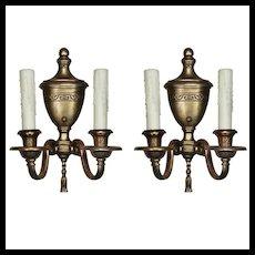 Pair of Antique Bronze Adam Style Double-Arm Sconces